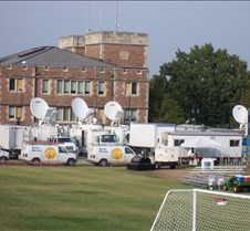 Media Trucks Outside Debate Hall