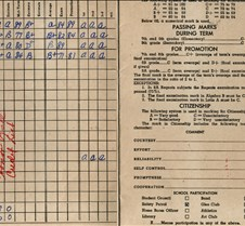 report card kingsfor park 1957 inside