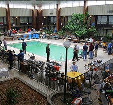 Pool Area Surrounded by Work Tables