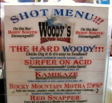 Shot menu at Woody's Seafood Saloon