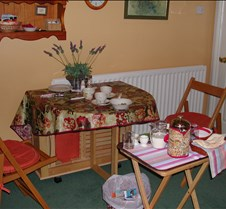 our breakfast table within our Bath B &