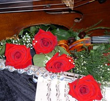 Instruments & Roses Flute, Violin, Cello and roses for use on the Harmony Ensemble web site.
