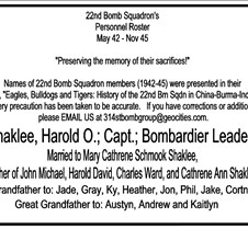 In Honor of Harold O. Shaklee In honor of Harold O Shaklee, Navigator in The Flying Tigers Squadron of World War II.