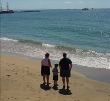 Grant,Grandma and Dad on a beach in Laha