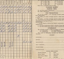 report card kingsfor park 1955 inside