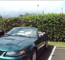 Brad in Mustang convertible Kauai Airpor