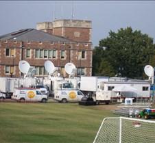 Media Trucks Outside Debate Hall