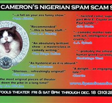Nigerian Spam Scam Scam promo postcard