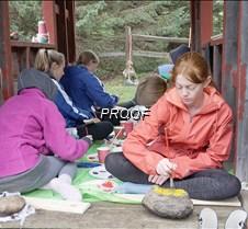 Painting rocks at Holly Skogen