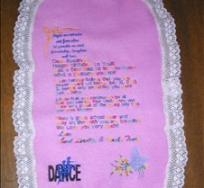 letter on fabric