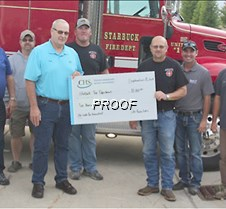 Starbuck fire department donation