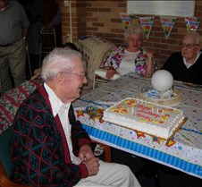 Dad's 94th Birthday On July 8, 2006, we celebrated Morris J Firebaugh's 94th birthday.  All the children and grandchildren were there for a party at the Mt. Morris park with cake adn icecream served afterwards at the Pinecrest Manor.