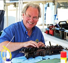 "Rob Meadows With His ""Lambie"" 4-4-0 Loco"