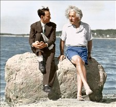 Albert Einstein on a Long Island beach