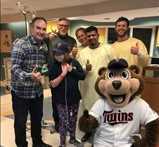 Faith with Twins and mascot