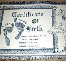 BIRTH ANNOUNCEMENT AFGHAN