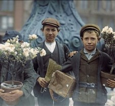 Boys buying flowers, 1908