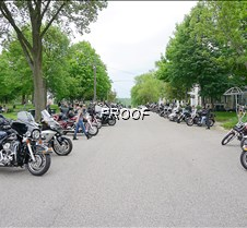 Street lined with motorcycles