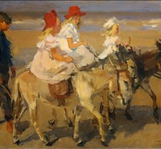 Girls Riding Donkeys on the Beach-Isaac
