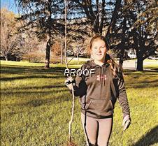 Emma Poegel with tree