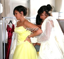 Dressing in yellow gown