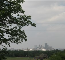 June 05, 2005 OKC Skyline  on a hazy June day.... Shot his from SE 29th Street looking NW to downtown. Phil and I and Jake hauled many a load of feed over this street to Stillwater over the years...