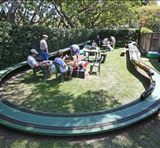 "2012 August SoCal Steamup with Jim Gabelich August SoCal steamup at Jim Gabelich's residence in Palos Verdes Estates, California. Jim has two layouts including an oval that is 60 feet in length with 10.5 foot radius curves. The platform is a semi-permanent elevated track, 6"" high on one end and 44"""