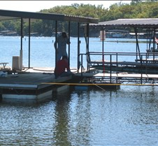 Boys attach new dock