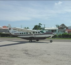 Dan and Elliot taking off from caye