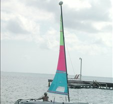 John bringing the catamaran in