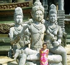Dorie by statue at sanctuary