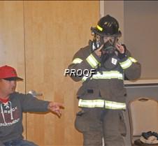 trying on fire gear