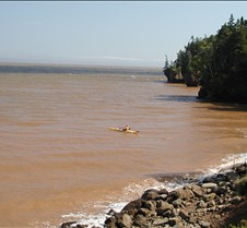 Kayaking at high tide
