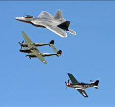 Heritage Flight, F-22, P-51, and P-38