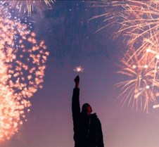Man and Fireworks Facebook Cover