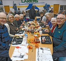 Thanksgiving dinner, group enjoys food C