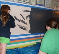 Lily and Patty Paining the Wall