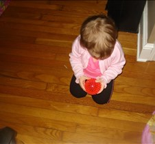Grace playing with her new ball from the