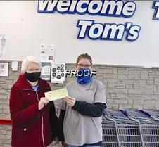 Tom's donation to Minnewaska Community h