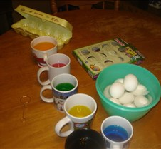 Coloring Easter Eggs at home in our kitc