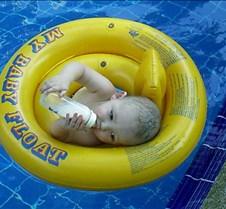 Kade in the pool
