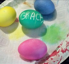 Grace pretty eggs she made for Easter wi