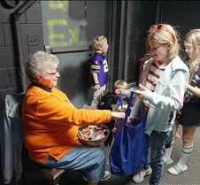 Judie Crumb handing out candy