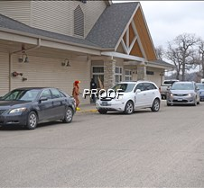 Cars lined up for meals