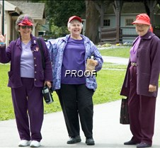 RED HAT SOCIETY Red Hat Society at Burnaby Village. Red Snappers and Holly Berries.