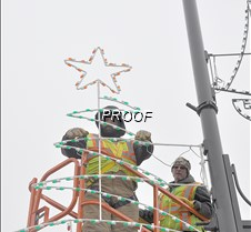 downtown christmas lights installed