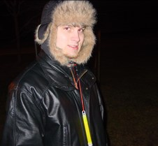 Aaron bundled up